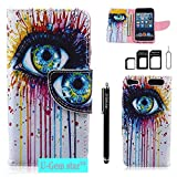 iPod Touch 5 Case, iPod Touch 6 Wallet Case, U-Gem star PU Leather Wallet Cover Case for Apple iPod Touch 5 or iPod Touch 6, with SIM Card Adapter Kit+Screen Protector+Black Stylus (One Eye)
