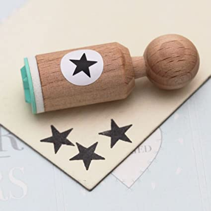 Wood Backed Rubber Stamp Star Outline