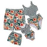 Yaffi Family Matching Swimwear 2019 Newest One Piece Floral Printed Bathing Suit Tank Top Striped Beachwear Men: XXL