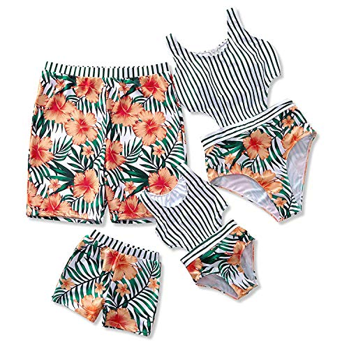 Yaffi Family Matching Swimwear 2019 Newest One Piece Floral Printed Bathing Suit Tank Top Striped Beachwear Girls: 3-4 Years