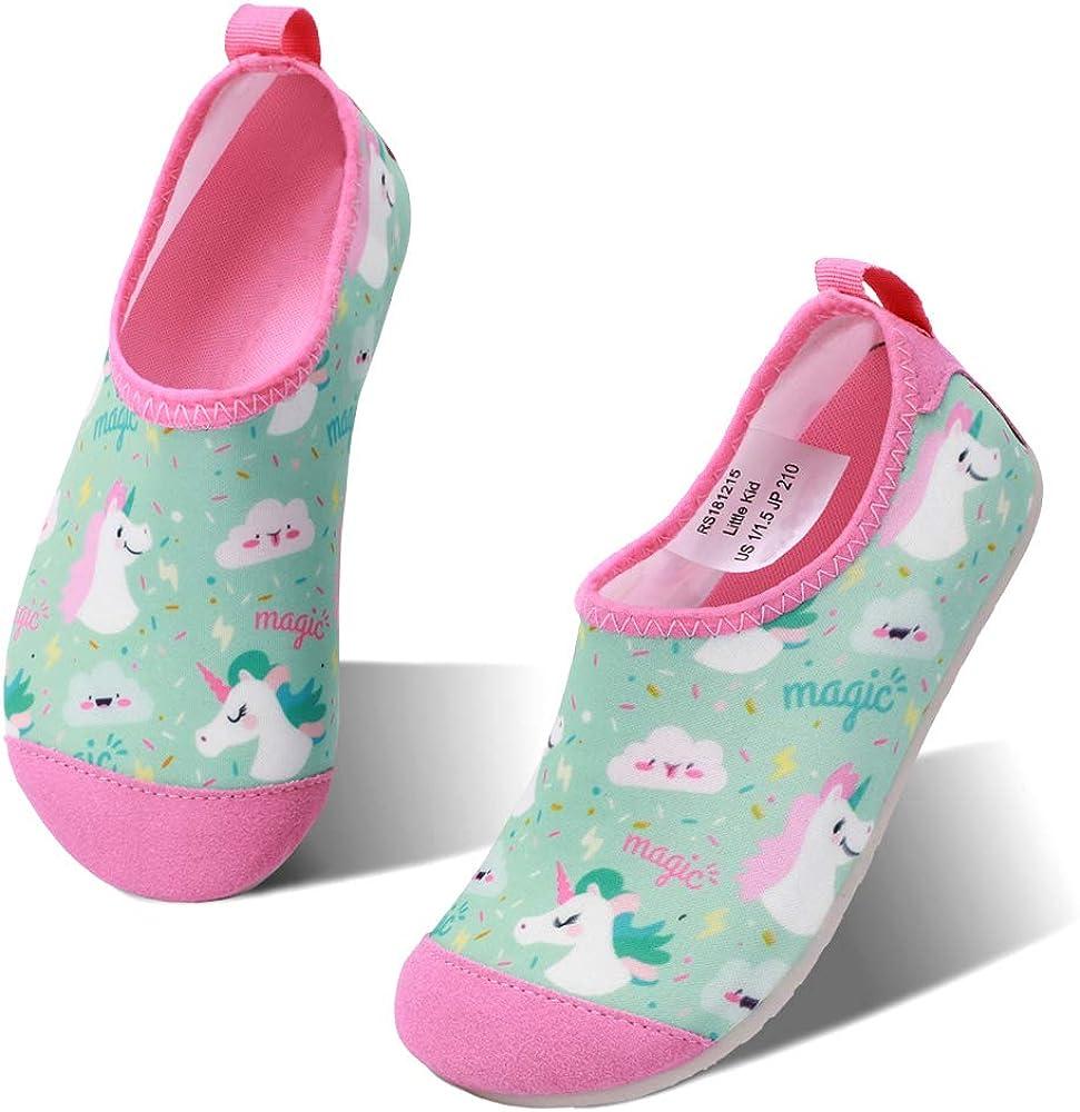 hiitave Kids Water Shoes Non-Slip Quick Dry Swim Barefoot Beach Aqua Pool Socks for Boys & Girls Toddler