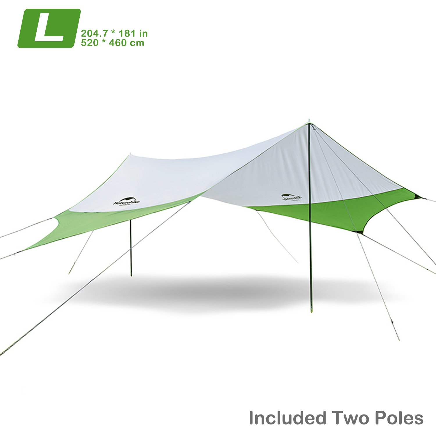 Naturehike Lightweight Camping Tarp Shelter Beach Tent Sun Shade Awning Canopy with Tarp Poles, Portable Waterproof Sun-Proof 204.7x181/157.5x137.8 for Hiking Fishing Picnic (Green&Grey-L) by Topnaca