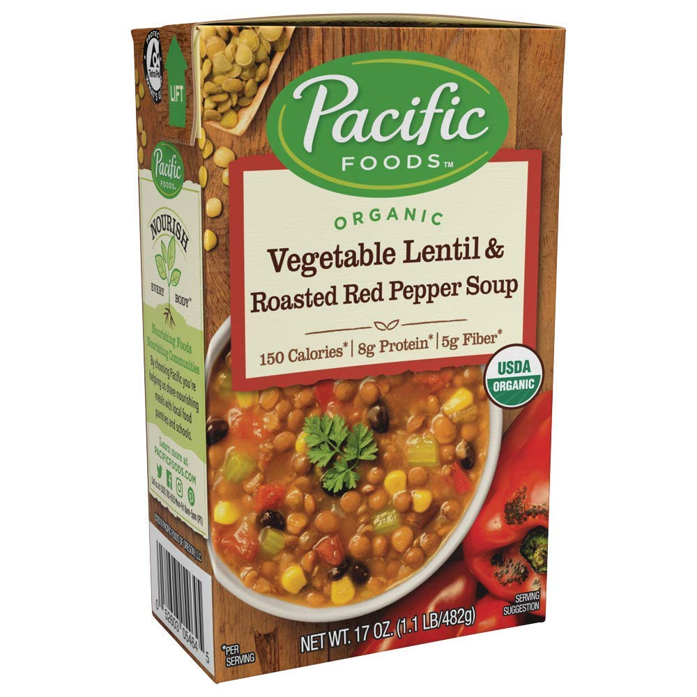 Pacific Foods Organic Vegetable Lentil & Roasted Red Pepper Soup, 1.06 Pound (Pack of 12)
