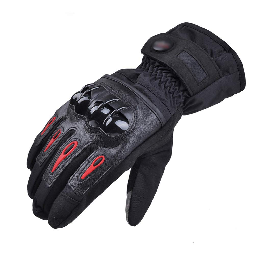 ZDYLL Men Leather Skiing Gloves Touch Screen Warm Thick Ski Gloves Outdoor Waterproof Motorcycle Riding Snow Snowboard Glove (Color : Black, Size : L) by ZDYLL