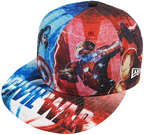New Era Marvel Allover Civil War Captain America Cap 59fifty Basic Fitted Mens