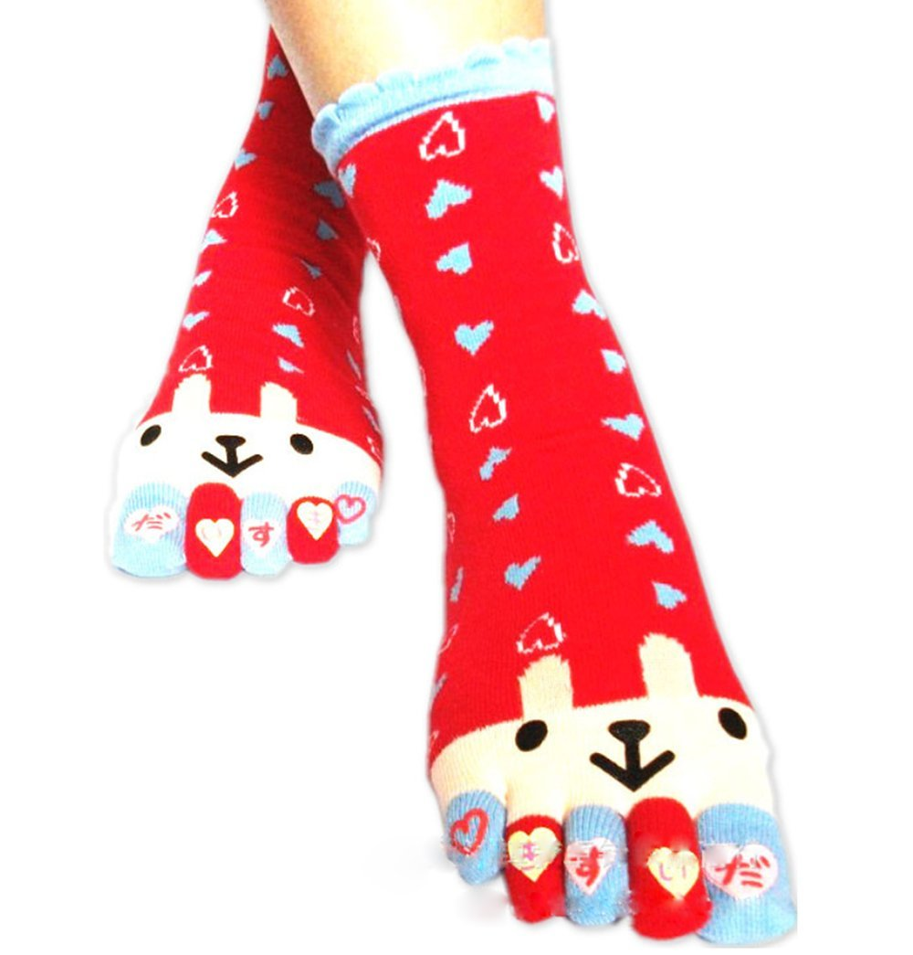 Women Ladies Toe Socks Funny Finger Socks Cute Cartoon Cotton Ankle Toe Socks Bluebrand