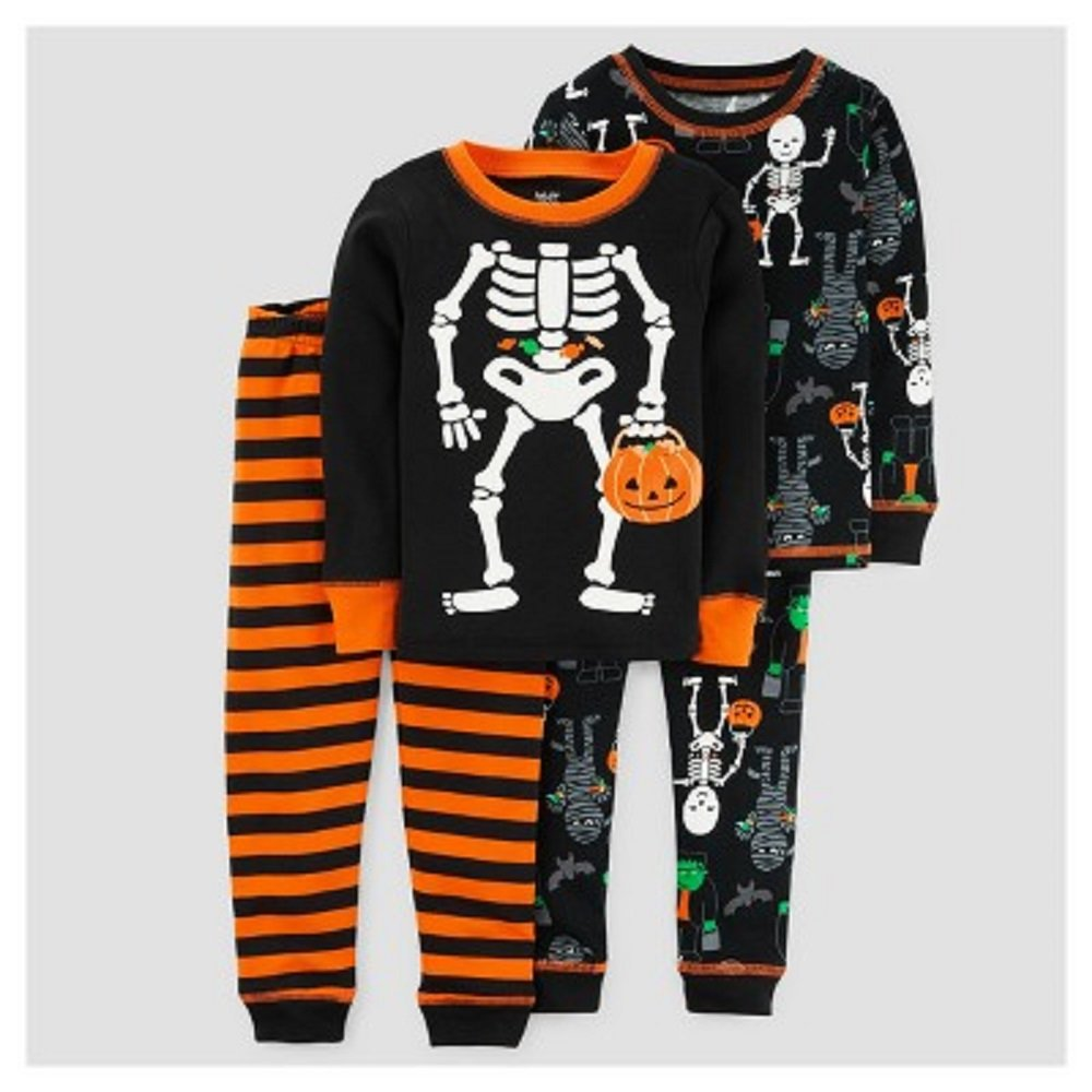 847e3e8a983b Amazon.com  Just One You Baby Boys  4pc Halloween Skeleton Pajama ...