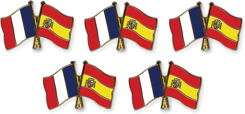 5 pi/èce Pack pins Drapeaux amiti/é France//Espagne