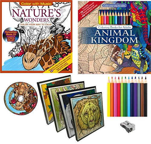 Animal adult coloring books picture frames combination Coloring book for adults walmart