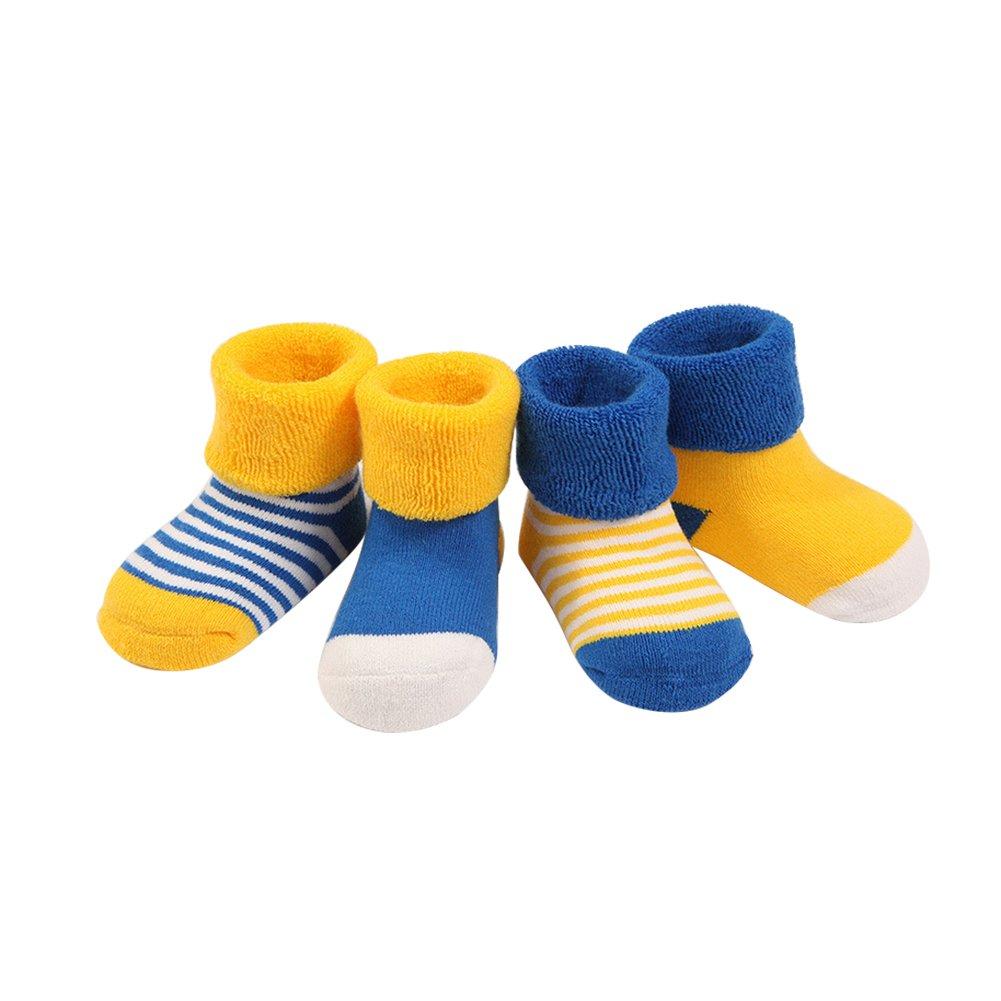 MoGist 5 Paare Babysocken Klassischer Gestreifter Wellenpunkt Baumwolle Socken Winter Thermal Socken Erstlingssocken Baby Cotton Socken (Rosa XS)