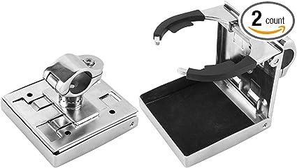 Amarine Made Stainless Steel Adjustable Folding Drink Holder Cup Holder Marine//Boat//Caravan//car