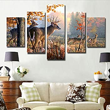 JuYi Art HD Painting Canvas Prints For Home Decoration, Stretched  5 Pcs  Deer Picture