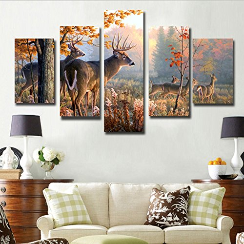 JuYi Art HD Painting Canvas Prints for Home Decoration, Stretched- 5 pcs Deer Picture Print on Canvas- Modern Home Decor Wall Art ( No Framed (Deer Canvas)
