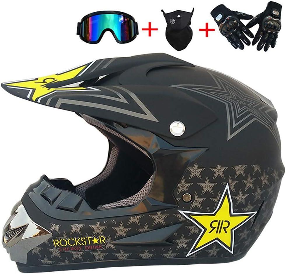 Mrdear Motocross Helm Adult Off Road Crosshelm Set Mit Brille Handschuhe Maske Unisex Motorradhelm Fullface Cross Helm Downhill Quad Enduro Atv Motorrad Schutzhelm Für Herren Damen Sport Freizeit