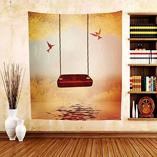 Gzhihine Custom tapestry Hummingbirds Decorations Tapestry The Booted Racket-Tail Feeding Nectar from Tiger Lily Blur Background Photo Bedroom Living Room Dorm Decor 60 x 80 Orange - Ohio Nectar Green