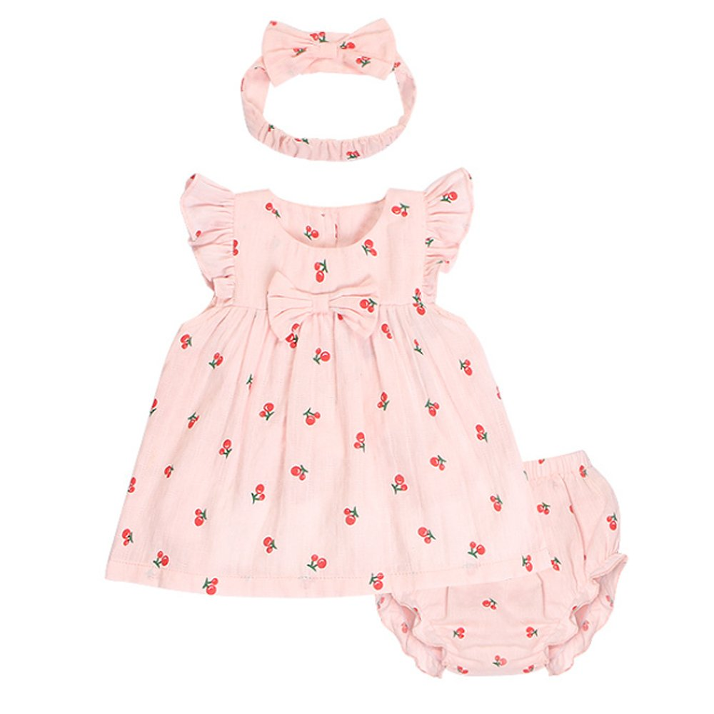 Ding Dong Baby Girls Summer Fruit Dress 3pieces Sets Outfits