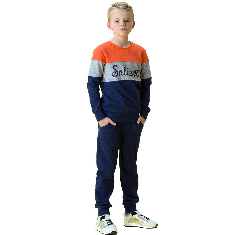 Leo&Lily Big Boys' FleeceTracksuit Hoodie W/Pants Set Pullover (Orange, 14)