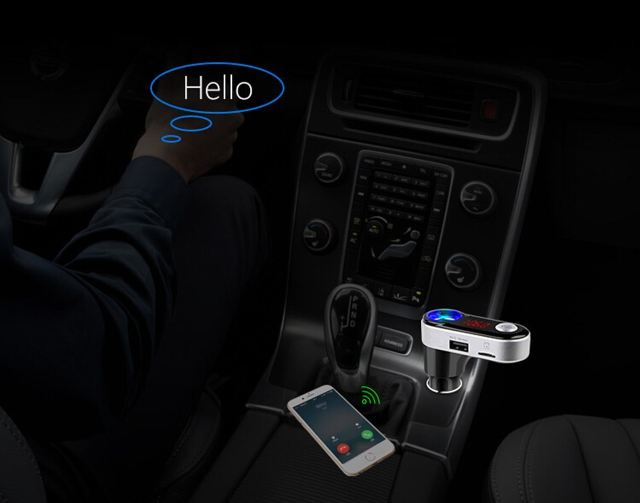 Auledio Wireless In-Car Bluetooth Hands Free Car Kit Radio Adapter with 5V//2.1A USB Car Charger Support USB Flash Driver//TF Card for iPhone 7 FM Transmitter iPod and More Devices