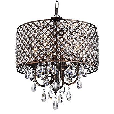 Edvivi Marya 4-Light Round Crystal Chandelier Ceiling Fixture   Beaded Drum Shade