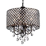 Edvivi Marya 4-Lights Antique Copper Round Crystal Chandelier Ceiling Fixture | Beaded Drum Shade | Glam Lighting