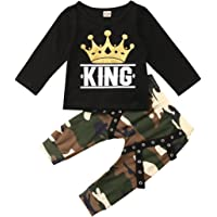 Ailainniyishi Newborn Baby Boy Clothes Set King Short Sleeve T-Shirt Crown Top + Camo Crown Pants Set