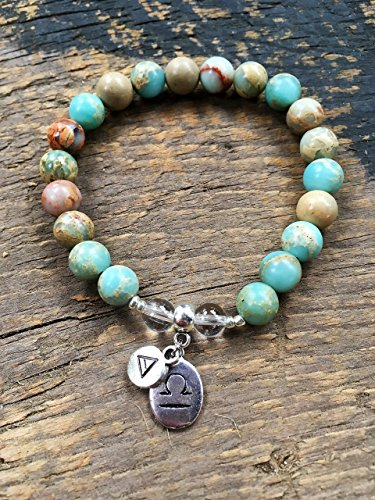 Womens Libra Zodiac Bracelet with Moon Sign and Air Element Charms for  Inner Peace
