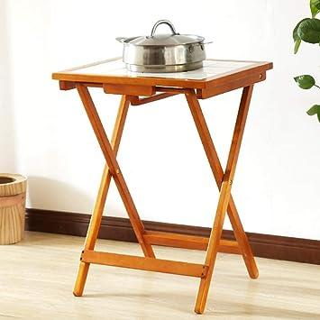 WGG Mesa Plegable de madera maciza Pequeño comedor Anti-escaldado ...