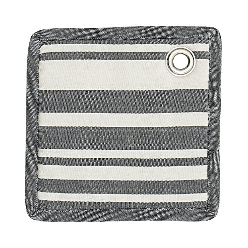 Striped Pot Holder - Bloomingville A90168201 Square Cotton Potholder, Grey and White Striped