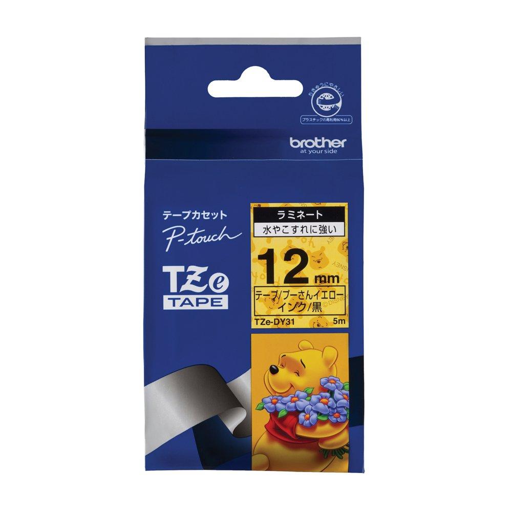 Brother TZe tape tape Disney (Winnie the Pooh Yellow / black) 12mm TZe-DY31 (japan import)