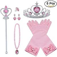 Vicloon Nuovi Costumi da Principessa Set di 8 Pezzi Dono da Tiara,Guanti,Bacchetta Magica, Anello, Orecchino,Collana da 3 a 9 Anni (Polvere)