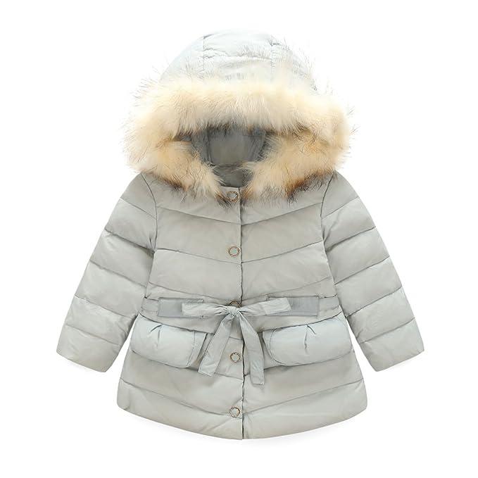 GenialES Chaqueta con Capucha Abrigos de Pluma Invierno Down Parka Puffer Coat para Bebés Niñas 2 a 7 años: Amazon.es: Ropa y accesorios