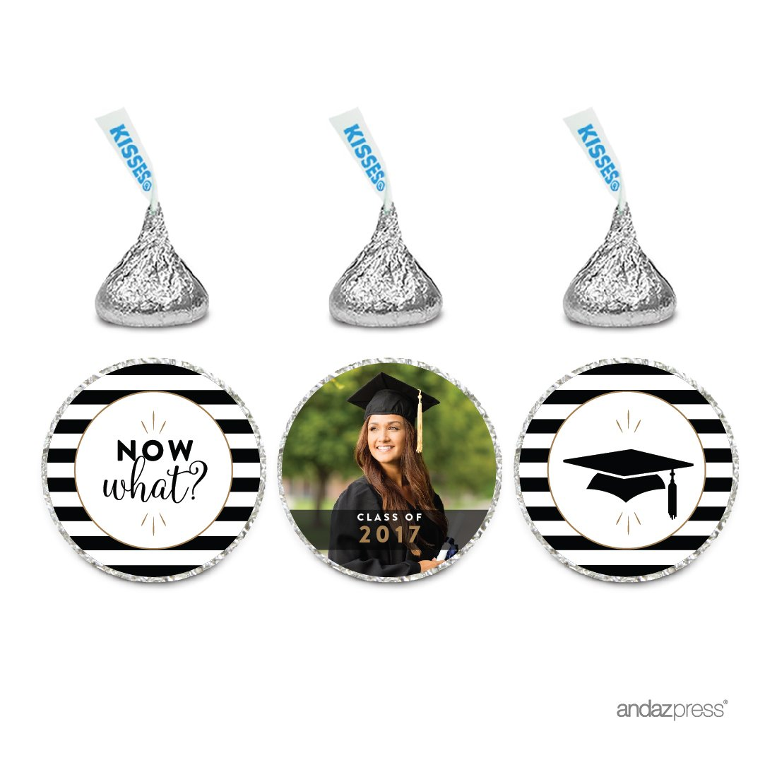 Andaz Press Personalized Graduation Photo Party Collection, Funny Chocolate Drop Label Stickers, Graphic + Now What? + Graphic, 216-Pack, Custom Image, Fits Hershey's Kisses