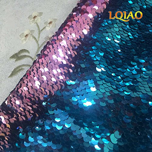 (Turquoise Pink-Sequin Fabric Flip UP Reversible Sequin Fabric Shimmer Sewing Fabric Mermaid Sequins Fabric-Two Tone Sold by half Yard)