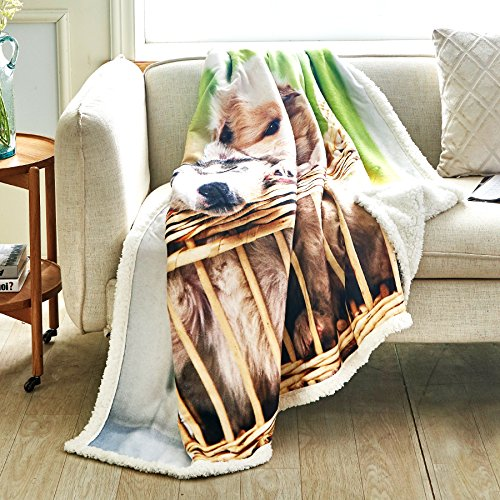 Fassbel Sherpa Throw Blanket Digital Printing Reversible Super Soft Lightweight Blanket Warm Microfiber All Season Blanket for Bed or Couch(50