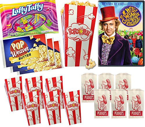 Popcorn Movie Night Willy Wonka Candy Family Musical Adventure & Fun Party Pack 6 Small Movie Theater carnival Style Boxes + 3 Microwave / Peanut Bags & Laffy Taffy Fruit - Style Willy Wonka
