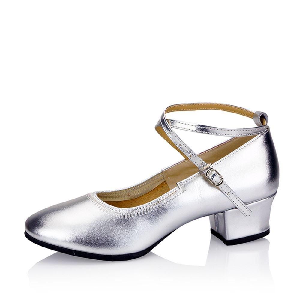 BYLE Leder Sandalen Riemchen Samba Modern Jazz Dance Dance Dance Schuhe Leder Tanz Schuh im Sommer Nach Weiche Silberne 3 5CM e4527a