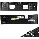 Caméra de Recul, Koyoso Cadre de Plaque D'immatriculation avec Caméra, D'aide au Stationnement Inverse de Voiture Parking Caméra avec 4 LED IP68 170° 12V