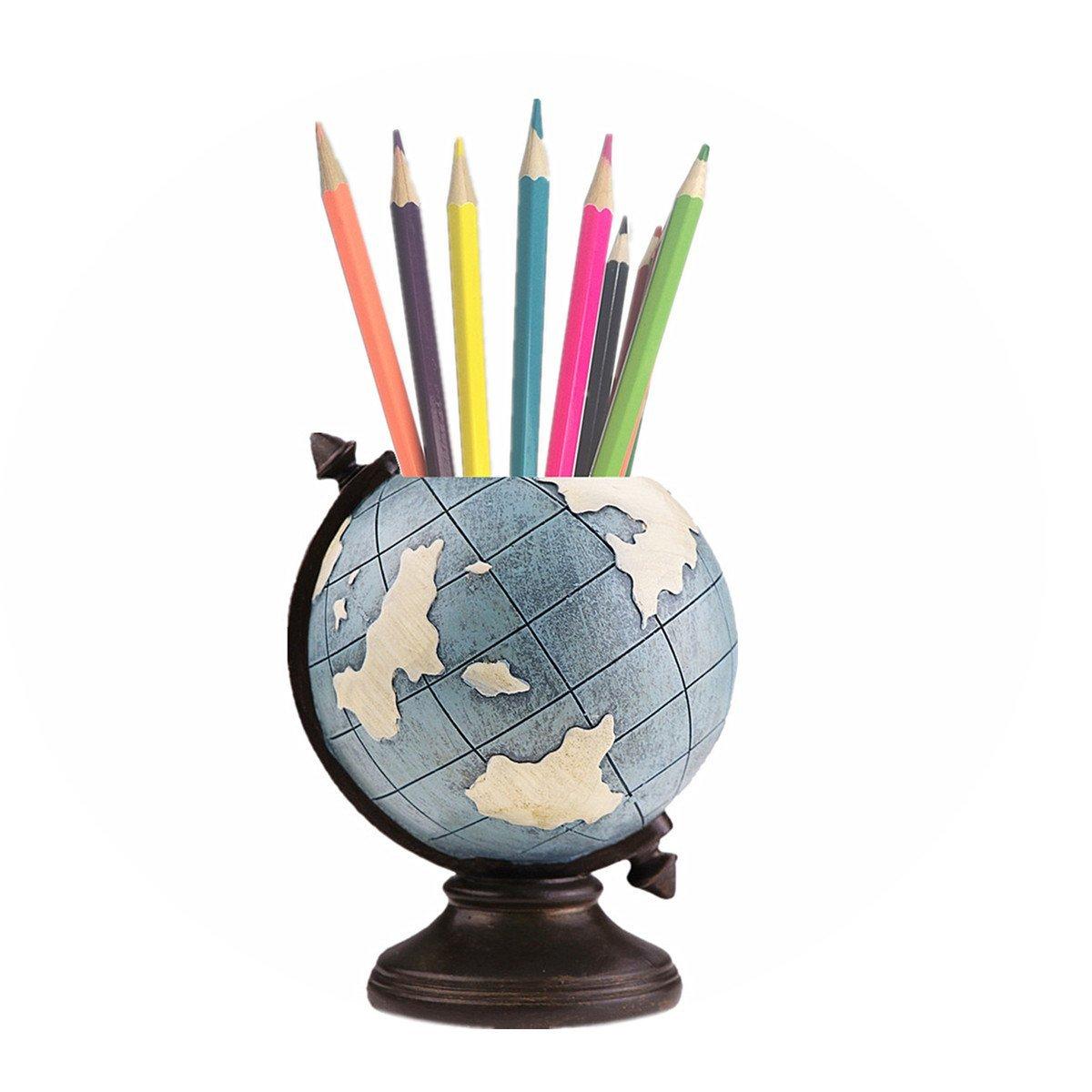 MUAMAX Pen Pencil Holder Resin Desk Globe Stand Multi Purpose Use Pencil Cup Pot Desk Organizer Bookshelf Cabinet Stationery for Home Office Kids Gifts (Blue)