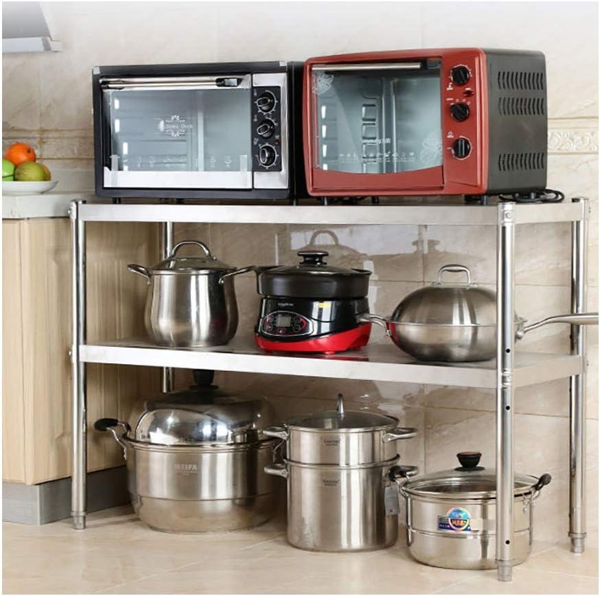 MM Kitchen Organizer Shelf, Stable Metal Racks, Up to 80 Kg Per Shelf, Microwave Oven Rack, Space Saver 2 Tier Shelving (Size : 80cm × 45cm × 80cm)