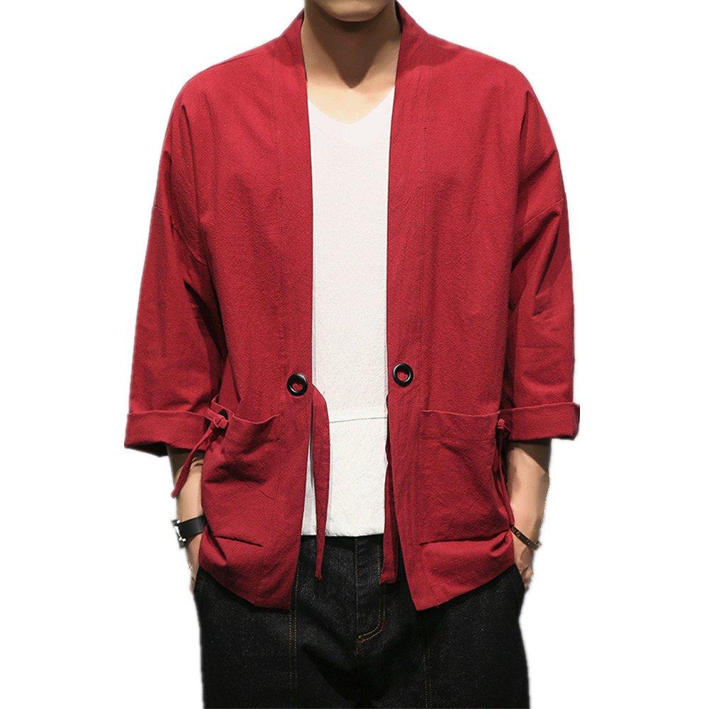 Amazon.com: Youmu hombre japonés Yukata chamarra Kimono ...