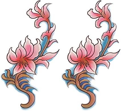 2 Hojas de Flores Coloridas Tatuajes Temporales Tatuajes Abdomen ...