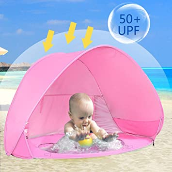 hot sale online bb702 6b40e Hoomall Baby Beach Tent with Pool, Pop Up Collapsible Portable Shade Kiddie  Pool Toy UV Protection Canopy Sun Shelter Playhouse for Infant ...