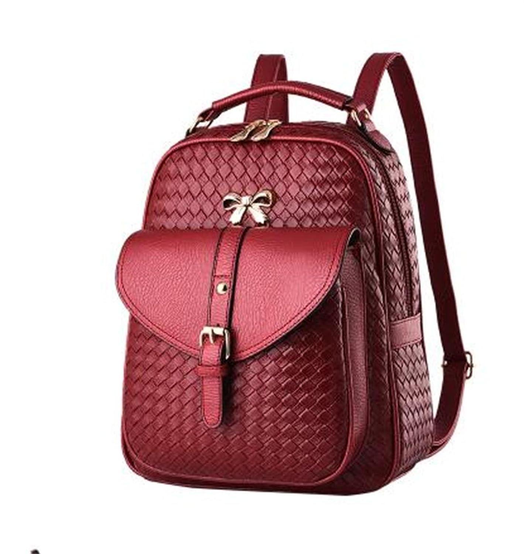 Women's Backpack PU Leather Bag School Bag for Girls Casual Purse Shoulder Bag Bowknot Metal Buckle SILI