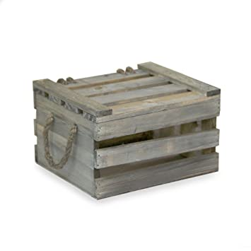 Ordinaire Small Wooden Crate Storage Box With Lid   Antique Green   7in