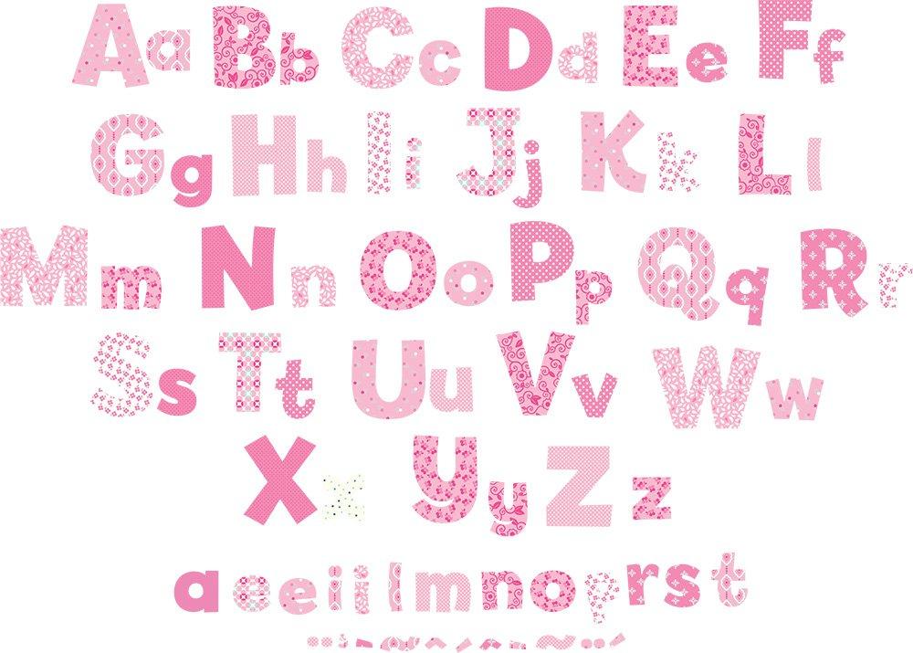 Amazon.com: Funtosee Upper U0026 Lowercase Alphabet Wall Decals, Pink: Baby