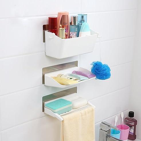 cathaybest badregalkunststoff badezimmer duschablage duschregalwandregalhngeregalkchenregalbefestigen ohne - Duschablage Kunststoff