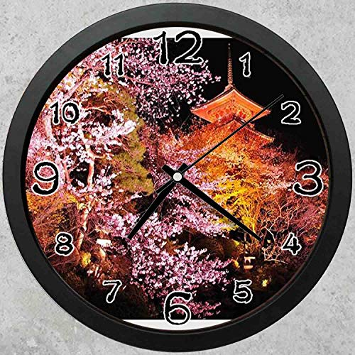 47BuyZHJX 10-inch Round Decorative Wall Clock (Black),Backdrop Pattern - F.Mints Japan Night,Cherry Tree,Home School Office Wall Clock.