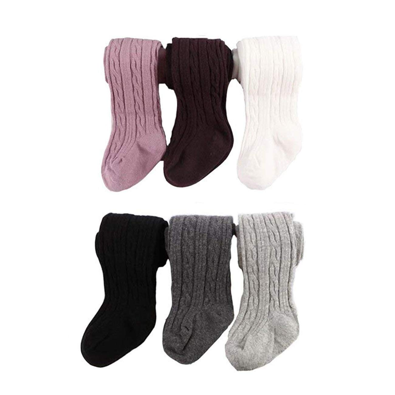 6 Pairs Baby Infant Toddler Gilrs Cable Knit Tights Cotton Warm Leggings Stocking Pants (0-6M) by Sywwlov
