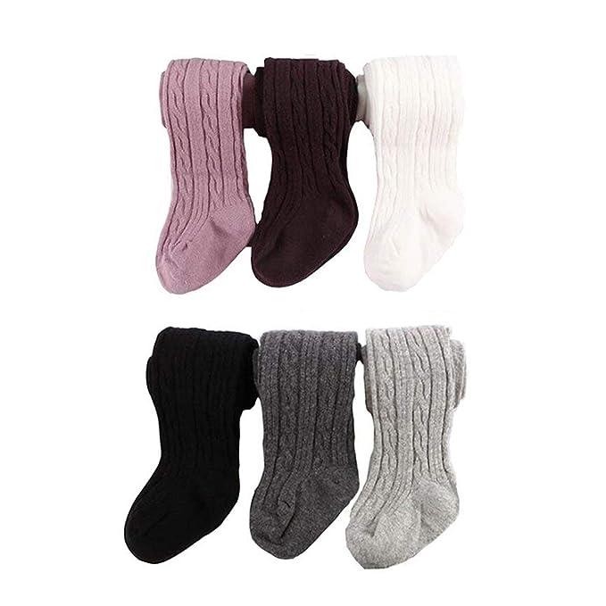 Amazon.com: 6 pares Bebé Niñas Cable Knit Tights algodón ...