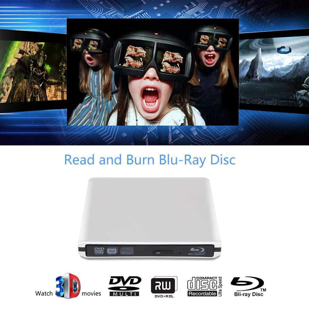 External 4K 3D Blu Ray DVD Drive, Portable USB 3.0 Blu Ray DVD Burner Player Reader Disk for Mac OS, Windows 7/8/10,Linxus, Laptop by MOGLOR (Image #2)